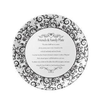 Amigos y placa de la familia platos de cerámica