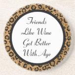 Amigos y práctico de costa del leopardo del vino posavaso para bebida