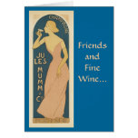 Amigos y tarjeta de felicitación del vino fino