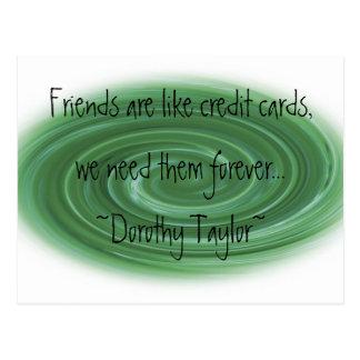 Amigos y tarjetas de crédito postales