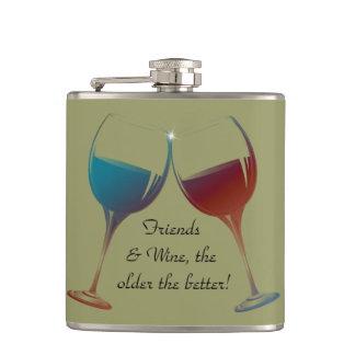 Amigos y vino, más viejos cuanto el mejor, frasco  petaca