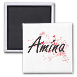 Amina Artistic Name Design with Hearts 2 Inch Square Magnet