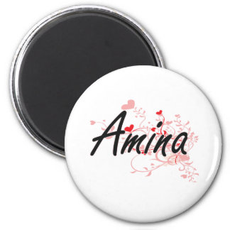 Amina Artistic Name Design with Hearts 2 Inch Round Magnet