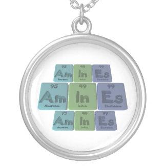 Amines-Am-In-Es-Americium-Indium-Einsteinium Round Pendant Necklace