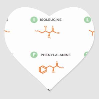 Amino Acids - Where do you get your protein? Heart Sticker