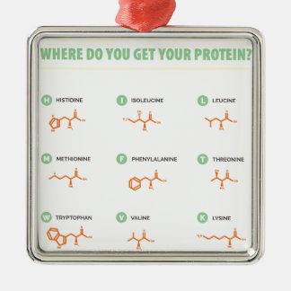 Amino Acids - Where do you get your protein? Metal Ornament