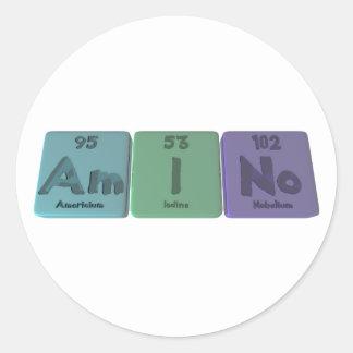 Amino-Am-I-No-Americium-Iodine-Nobelium Classic Round Sticker