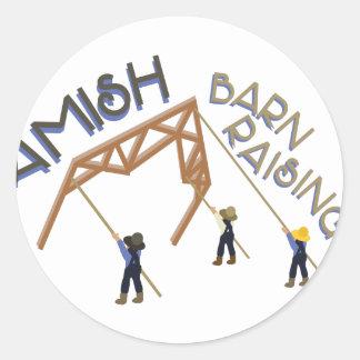 Amish Barn Raising Classic Round Sticker