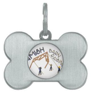 Amish Barn Raising Pet ID Tag