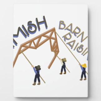 Amish Barn Raising Plaque
