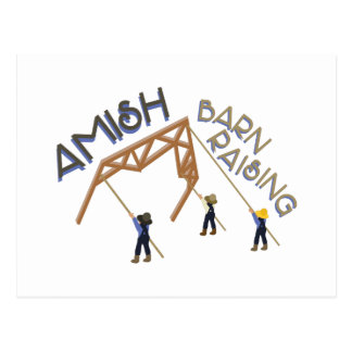 Amish Barn Raising Postcard