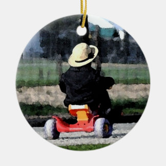 Amish Boy on Tricycle-Watercolor Ceramic Ornament
