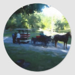 Amish Buggy and Trailer Round Sticker