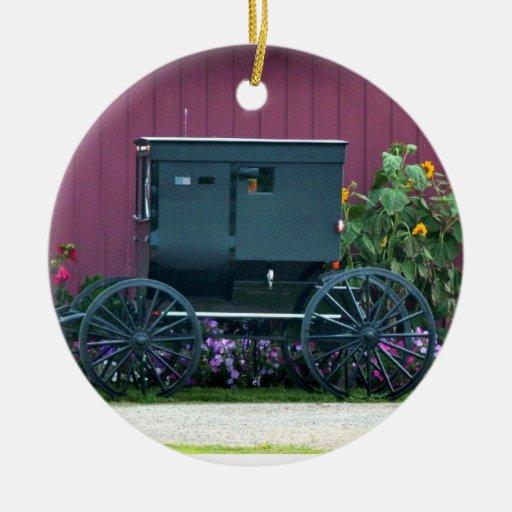 Amish Buggy-Barnyard Ceramic Ornament