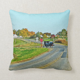 """""""AMISH BUGGY IN PEACEFUL COUNTRYSIDE"""" THROW PILLOW"""
