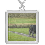 Amish buggy on farm lane, Northeastern Ohio, Square Pendant Necklace