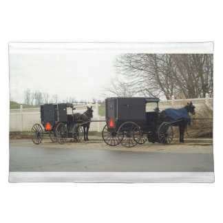 "Amish Buggy ""Parking Lot"" Cloth Place Mat"