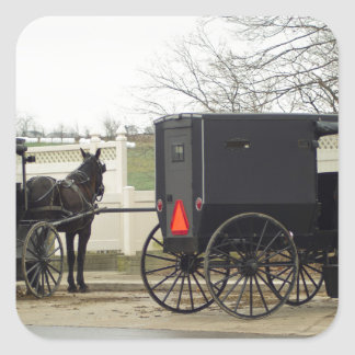 "Amish Buggy ""Parking Lot"" Square Sticker"