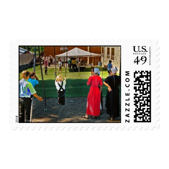 Amish Children At Swings Postage Stamp