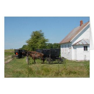 Amish Church and Horses Card