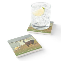 Amish Coasters, Mother Sheep and Twin Lambs! Stone Coaster