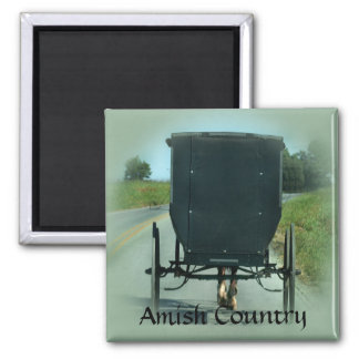 Amish Country Buggy 2 Inch Square Magnet
