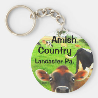 Amish Country Cows! Lancaster Basic Round Button Keychain