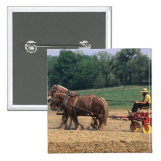 Amish Country simple people in farming with 2 Inch Square Button