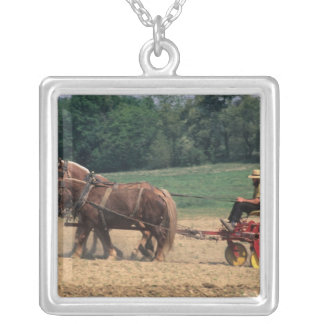 Amish Country simple people in farming with Square Pendant Necklace