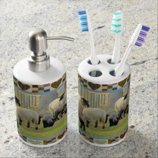 Amish County Bathroom Set Toothbrush Holder & Soap