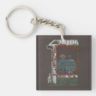 Amish Couple On Porch Swing Keychain