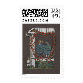 Amish Couple On Porch Swing Stamps