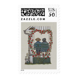 Amish Couple On Porch Swing Postage