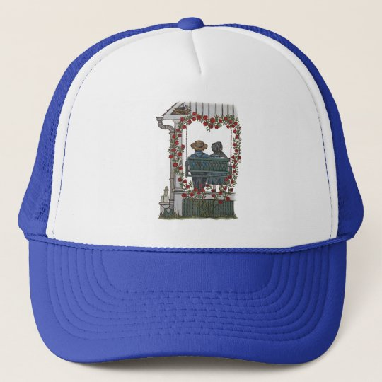 Amish Couple On Porch Swing Trucker Hat