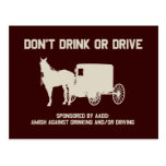 Amish - dont drink or drive postcard