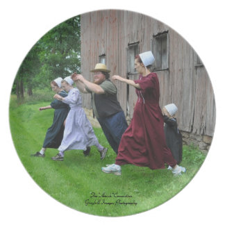 Amish Family Fun Melamine Plate