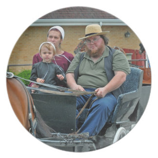 Amish Family In Buggy Party Plate