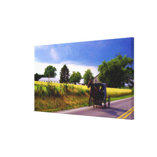 Amish Family Racing the Storm (simulated oil on ca Canvas Print