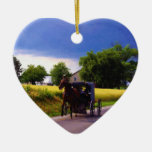 Amish Family Racing the Storm (simulated oil on ca Ceramic Ornament