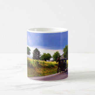 Amish Family Racing the Storm (simulated oil on ca Coffee Mug
