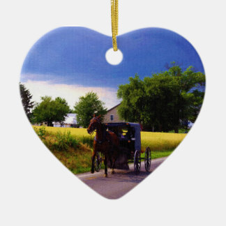 Amish Family Racing the Storm (simulated oil on ca Double-Sided Heart Ceramic Christmas Ornament