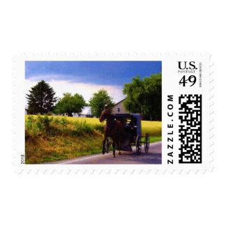 Amish Family Racing the Storm (simulated oil on ca Stamps