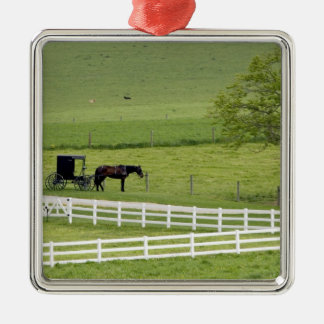 Amish farm with horse and buggy near Berlin, Metal Ornament