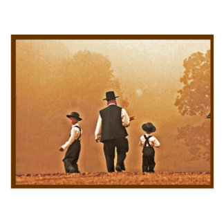 Amish Father & Sons Postcard