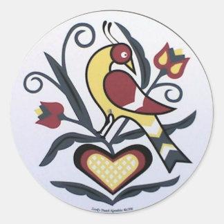 Amish Hex Lovebird Round Sticker