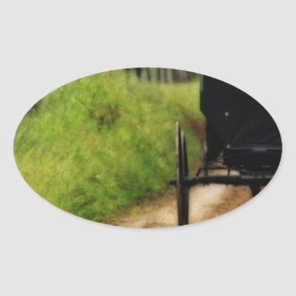 Amish Horse And Buggy Oval Sticker