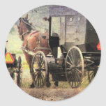 Amish Horse and Buggy Round Stickers