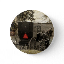 Amish Horse and Buggy Sepia Postcard Digital Art Button