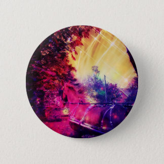 Amish Horse and Buggy Trippy Colorful Digital Art Pinback Button