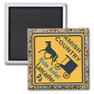 Amish Horse & Buggy Ride Safe, Magnet! 2 Inch Square Magnet